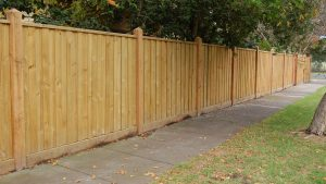 1.95m high exposed cypress post, capped, paling fence.